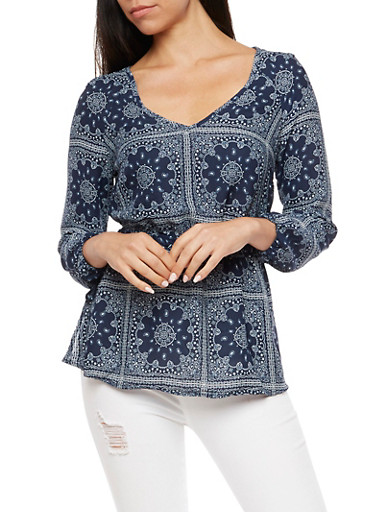 Printed Cinched Waist Blouse,NAVY,large