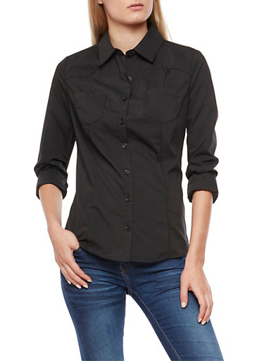 Solid Long Sleeve Button Front Top,BLACK,large