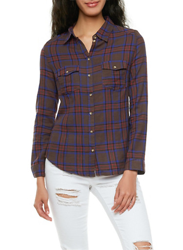 Long Sleeve Plaid Shirt with Chest Pockets,BROWN,large
