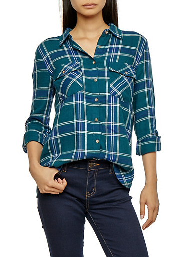 Long Sleeve Button Front Plaid Top,GREEN/NAVY,large