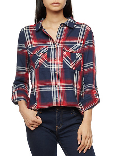 Long Sleeve Plaid Button Front Shirt,NAVY/RED,large