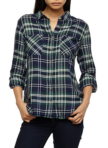 Button Front Plaid Top,GREEN/NAVY,large