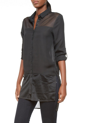 Button Down High Low Tunic with Mesh Insets,BLACK,large