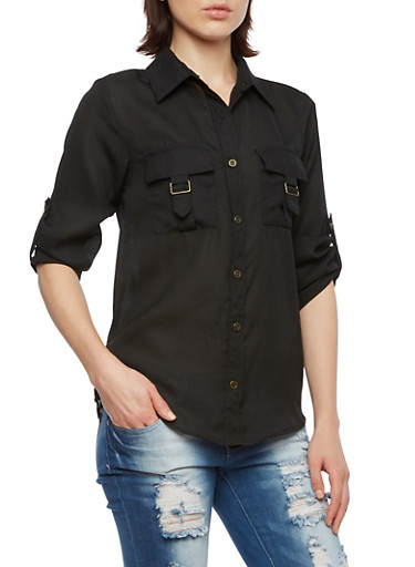 Button Front Chiffon Top with Chest Pockets,BLACK,large
