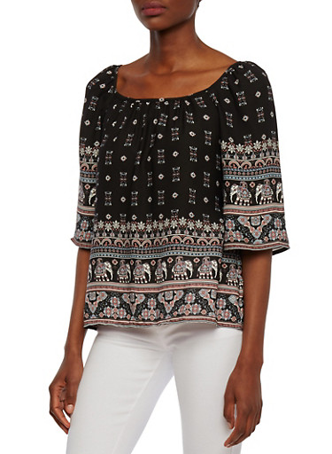 Paisley Print Top with Wide Sleeves and Boat Neck,MULTI COLOR,large