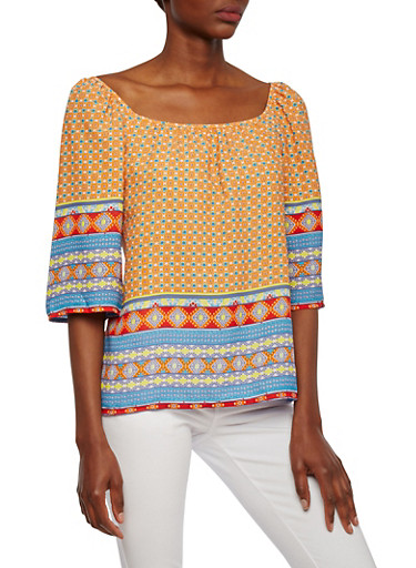 Tribal Print Top with Wide Sleeves and Boat Neck,MULTI COLOR,large