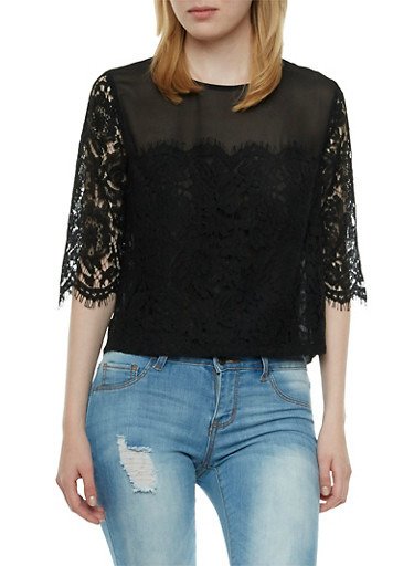 Chiffon Top with Crochet Accent Paneling,BLACK,large