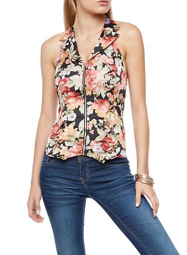 Zip Front Floral Halter Neck Top,BLACK,large