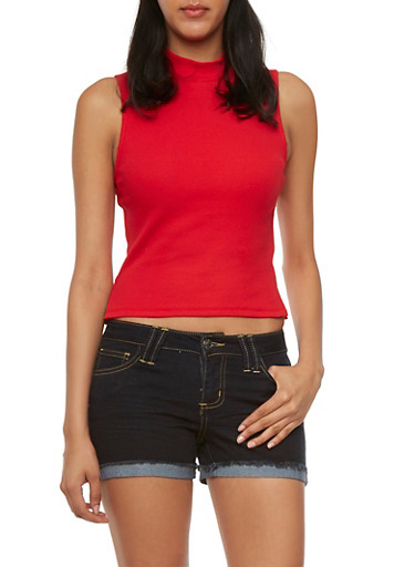 Rib Knit Mock Neck Crop Top,RED,large