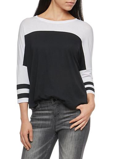 Color Block Dolman Sleeve Top,BLACK/WHT,large