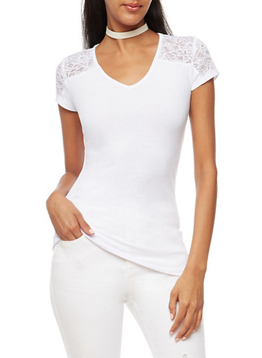 Lace Detailed V Neck Top,WHITE,large