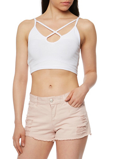 Solid Caged Crop Top,WHITE,large