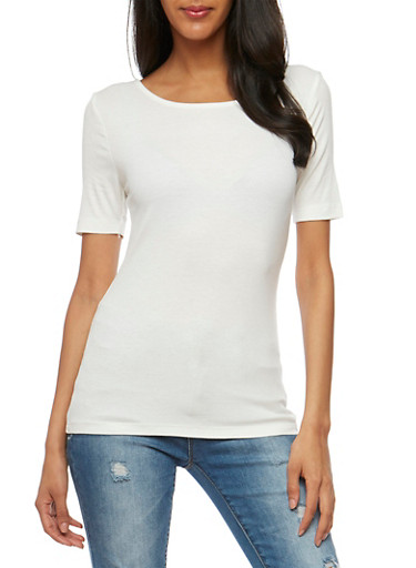Rib Knit T Shirt with Caged Back,WHITE,large