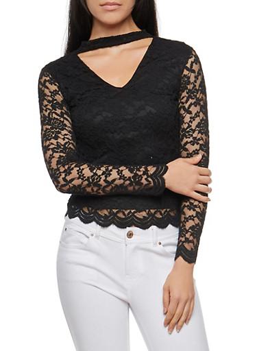 Lace Choker Neck Top,BLACK,large