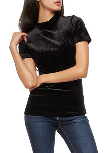 Short Sleeve Velvet Mock Neck Top,BLACK,large