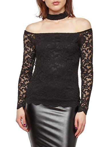 Lace Off the Shoulder Choker Neck Top,BLACK,large