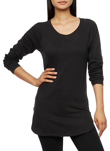 Solid Long Sleeve Tunic Top with Crew Neck,BLACK,large