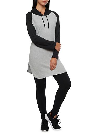 Raglan Tunic Top with Drawstring Hood,HTRH/BLACK,large