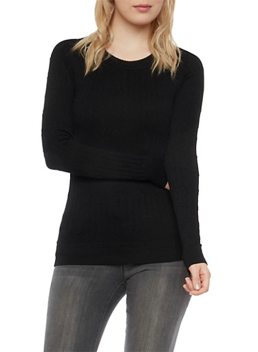 Cable Knit Top with Long Sleeves,BLACK,large
