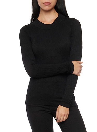 Cable Knit Top with Mock Neck,BLACK,large