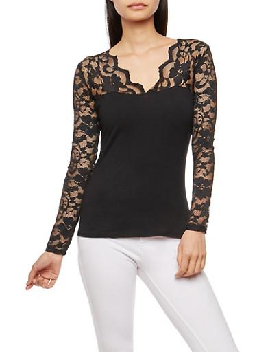 Lace Sleeve Basic Top,BLACK,large