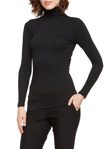Solid Turtleneck Top,BLACK,large