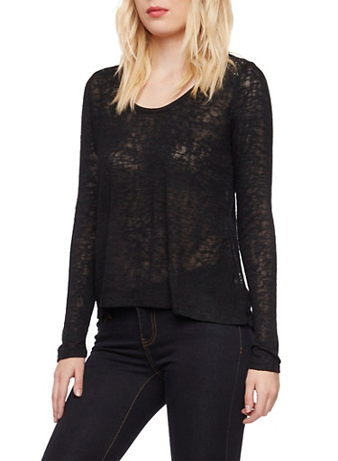 Knit Top with Crochet and Tulip Paneling,BLACK,large