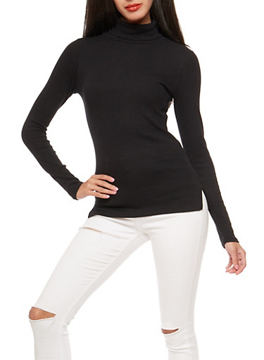 Basic Ribbed Knit Turtleneck Top,BLACK,large