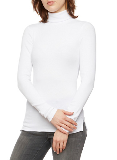 Turtleneck Sweater in Ribbed Knit,WHITE,large