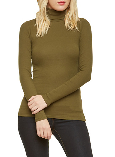 Turtleneck Sweater in Ribbed Knit,OLIVE,large