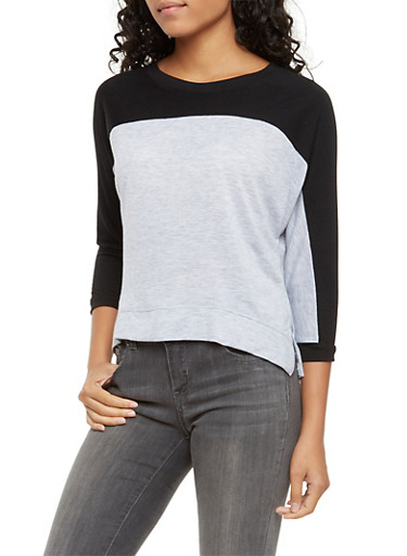 Cropped Color Block Top,HTHR/BLK,large