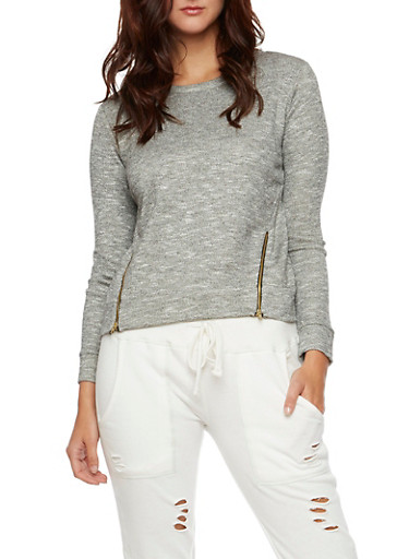 Heathered Long Sleeve Top with Zip Accents,BLACK,large
