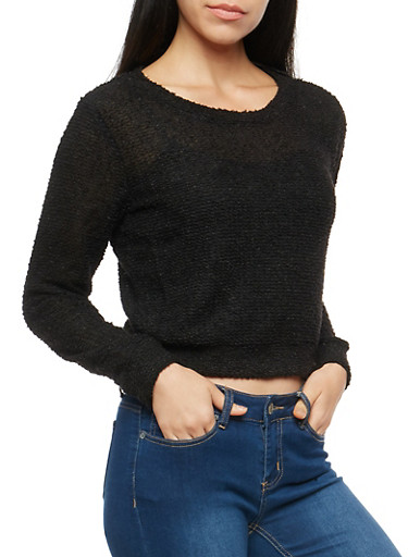 Two Tone Soft Knit Sweater,BLACK,large