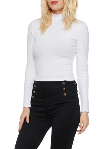 Crop Top with Mock Neck,WHITE,large