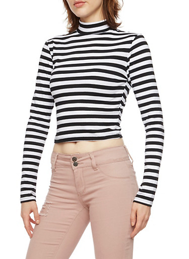 Striped Crop Top with Mock Neck,BLACK/WHITE,large