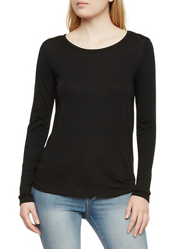 Jersey Top with Long Sleeves,BLACK,large