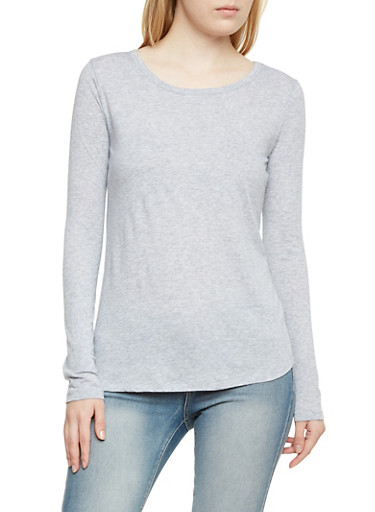 Jersey Top with Long Sleeves,HEATHER,large