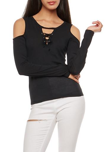 Long Sleeve Cold Shoulder Lace Up Top,BLACK,large