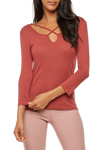 Long Sleeve Caged Neck Top,MARSALA,large