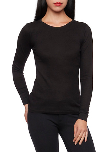 Long Sleeve Crew Neck Thermal Top,BLACK,large