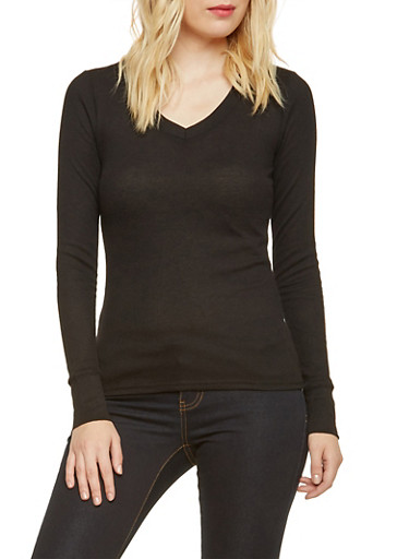 Thermal Top with V Neck,BLACK,large