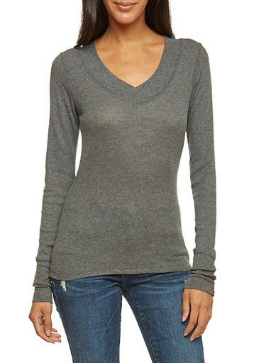 Thermal Top with V Neck,CHARCOAL,large