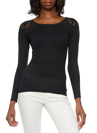 Thermal Top with Crochet Shoulders,BLACK,large
