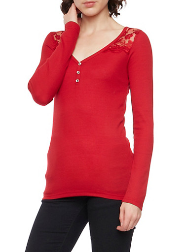 Thermal Henley Top with Lace Paneling,RED,large