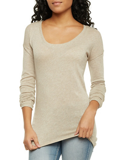 Sweater with Scoop Neck,OATMEAL,large