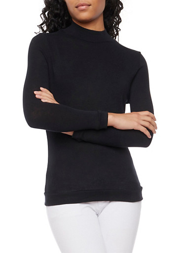 Basic Long Sleeve Turtleneck,BLACK,large
