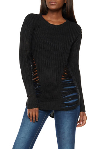 Ripped Knit High Low Sweater,BLACK,large