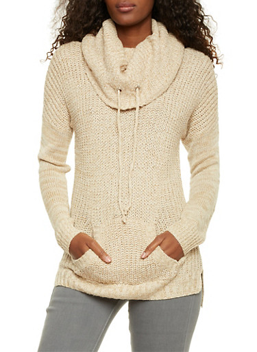 Marled Sweater with Drawstring Cowl Neck,IVORY,large