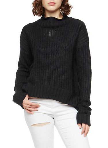 Chunky Knit Ripped Long Sleeve Sweater,BLACK,large
