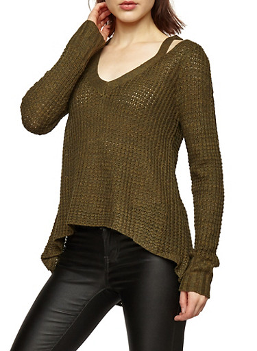 Chunky Knit Slit Shoulder Sweater,OLIVE,large